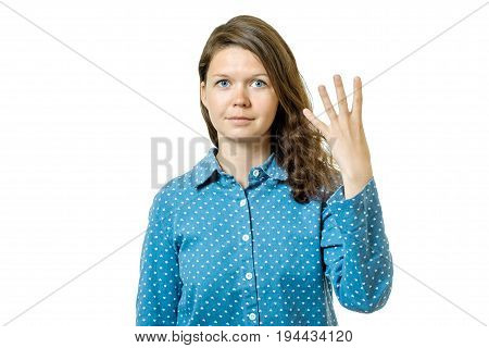 Young Girl Counting Four