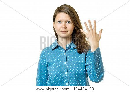 Young Girl Counting Five