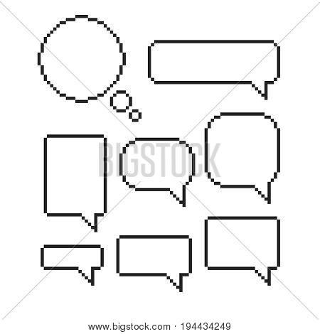 Pixel  speech bubble set mosaic  dialog boxes  text  message set