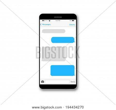 Message text box mobile phone screen chat bubble set smartphone conversation dialog