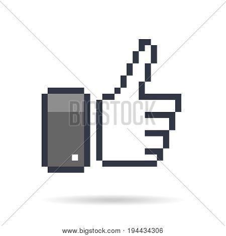 pixel  thumb up 8 bit icon   like pixel symbol  mosaic finger  rate  gray