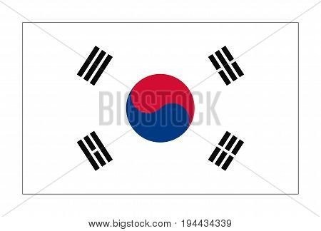 Flag of Republic  Korea in correct size, proportions and colors. National Flag of South Korea.