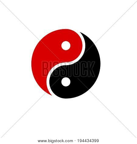 yin yang icon vector harmony symbol  vector   red and black