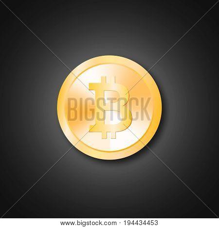 Realistic golden bitcoin  coin vector  bitcoin illustration