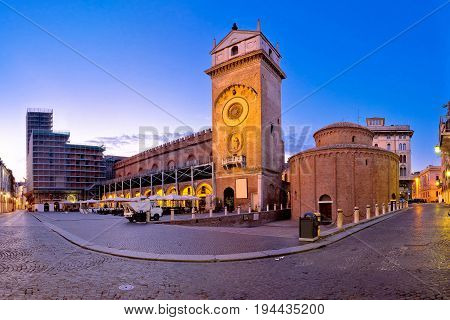 Mantova City Piazza Delle Erbe Evening View