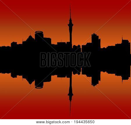 Silhouette of Auckland Downtown Skyline During Sunset