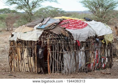 Poverty and huts of Samburu in Kenya, 12. October 2012