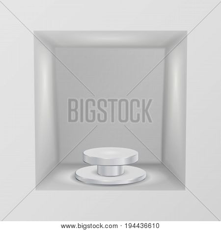 Empty Showcase, Niche Vector. Abstract Clean Empty Shelf, Niche In The Wall. Good For Presentations. Podium