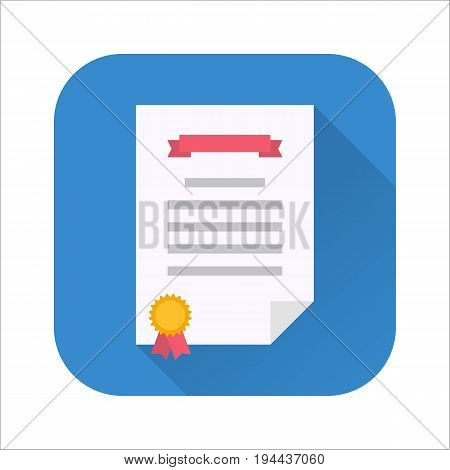 Diploma flat icon. Certificate of congratulations, contract or achievement paper. Vector flat style cartoon illustration with long shadow on blue background. Business concept
