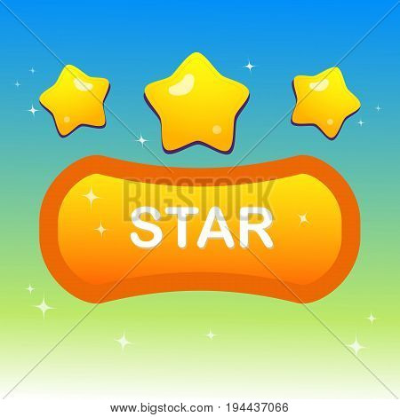 Cute stars on shape text box and blink stars with colorful night shade illustration and blue green gradient background