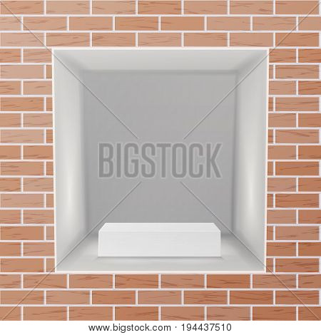 Empty Niche Vector. Realistic Brick Wall. Clean Empty Shelf, Niche, Showcase In The Wall. Mock Up. Good For Presentations, Display Your Product. Illuminated Light Lamp