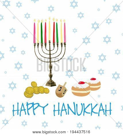 Card With Collection Of Objects For Hanukkah