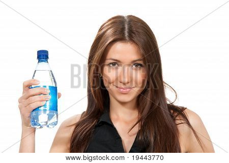 Woman Offer And Give Bottle Of Pure Still Drinking Water For Diet