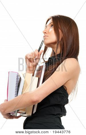 School Girl Thinking, Holding Stack Of Books, Notebook, Copy-book