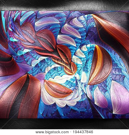 3D rendering of plastic background with embossed flower strip fractal on leather