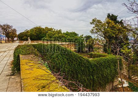 Barcelona park Montjuic, Spain, garden plants landscape