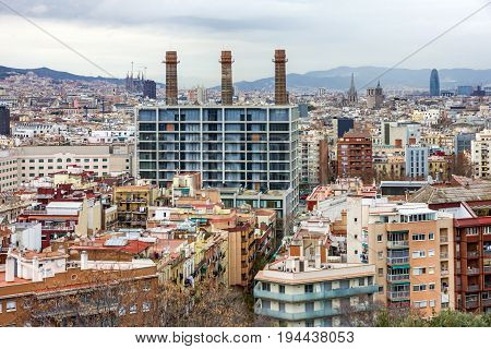 Barcelona, Spain - July 4, 2017: Barcelona city view from Montjuic, Catalonia, Spain