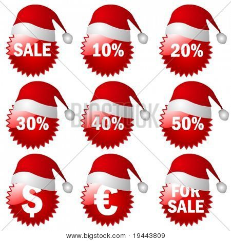 big 3d X-Mas Set of red price tags in vector design