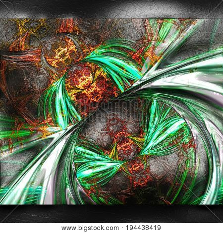 3D rendering of plastic background with embossed fireworks fractal on leather