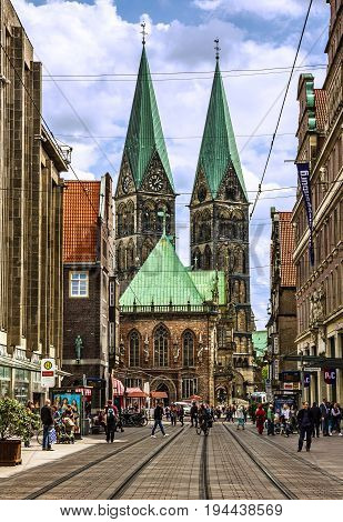 Bremen, Germany - July 9, 2017: Market square and Cathedral church