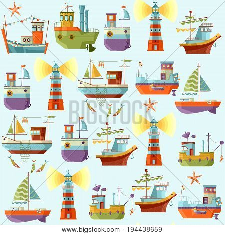 Naval collection. Seamless background pattern. Vector illustration.