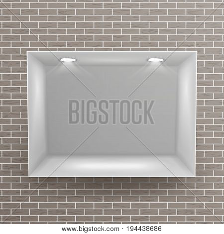 Show Window, Niche On Brick Wall Vector. Clean Shelf, Niche, Wall Showcase. Good For Exhibit, Presentations, Display Your Product.