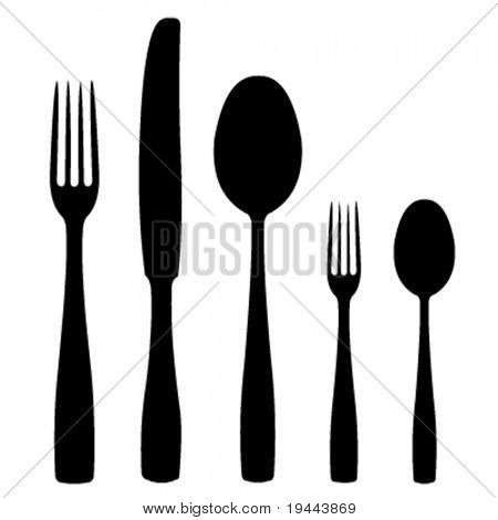 set of silverware in vector design