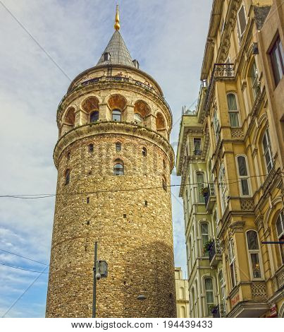 Istanbul, Turkey - May 8, 2017: Galata tower in Istanbul, Turkey