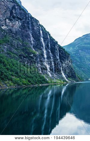 Waterfolls - Seven sisters and bridegroom - in Geiranger fjord, Norway.