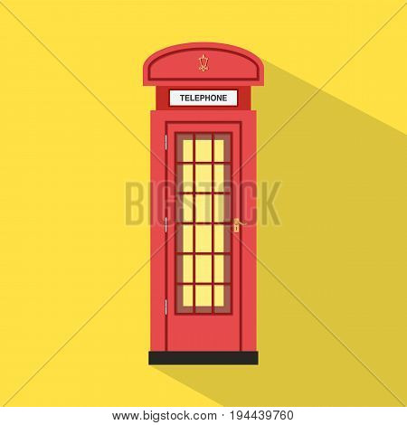 Flat red pay phone with yellow background and long shadow vector.Red English telephone.Classic pay phone vector