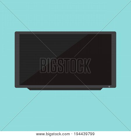 Flat Black Television vector with blue background.TV vector isolated blue background.
