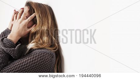 Woman in depression alone with problems (difficulties psychology body language gestures loneliness concept)