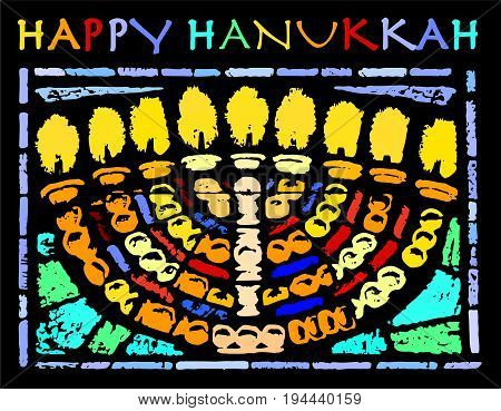 Happy Hanukkah Card With An Hannukia