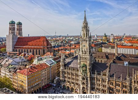 MUNICH, GERMANY - JUNE 3 2017: Munich panoramic view old town architecture, Bavaria, Germany. Frauenkirche and town hall on Marienplatz