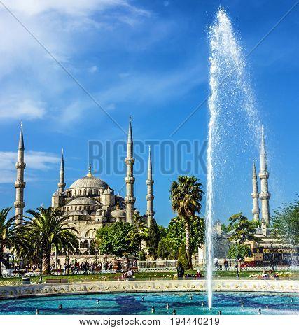 Istanbul, Turkey - July 8, 2017: Blue mosque Sultanahmet, Istanbul, Turkey
