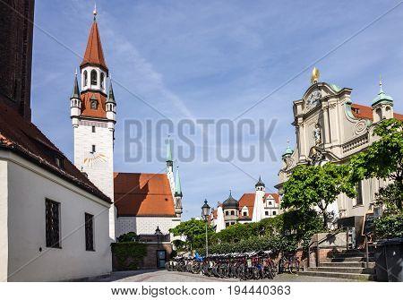 Munich, Germany - May 7, 2017: Historical center of Munich, Marienplatz, Germany
