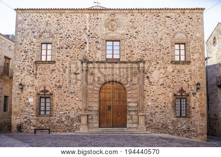 Archbishop Palace Building in Caceres. Spain Extremadura