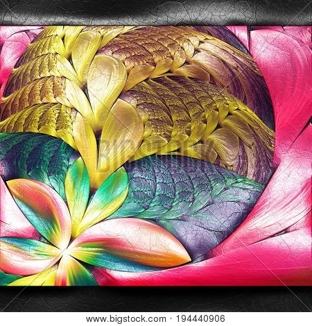 3D rendering of plastic background with embossed flower ear fractal on leather