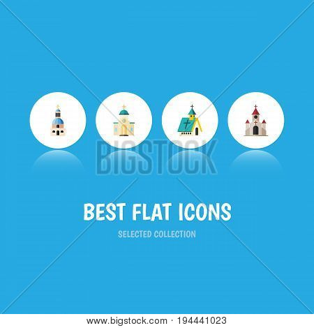 Flat Icon Church Set Of Traditional, Church, Architecture And Other Vector Objects. Also Includes Church, Architecture, Building Elements.