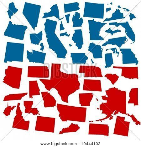 Vektor-Staaten von Amerika in Abstimmung Farben