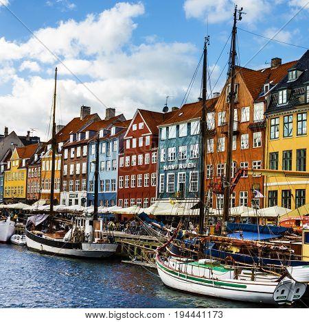 COPENHAGEN, Denmark - July 9, 2017: Seafront Nyhavn in the center of Copenhagen.