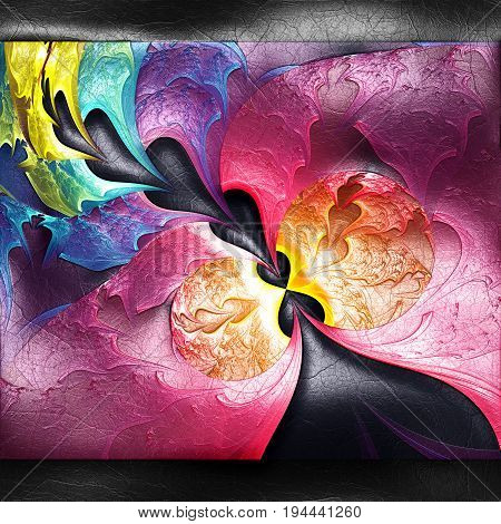 3D rendering of plastic background with embossed rainbow string fractal on leather
