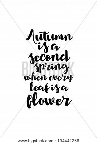 Handwritten calligraphy quote and autumn motives. Autumn is a second spring when every leaf is a flower.