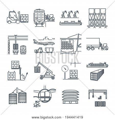 set of thin line icons air sea rail freight terminal storage