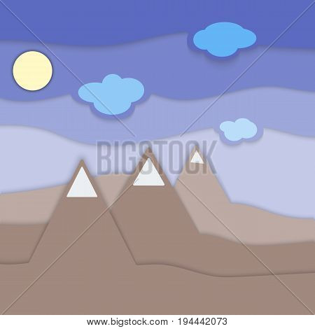 Multilevel landscape with mountains clouds and sun material design