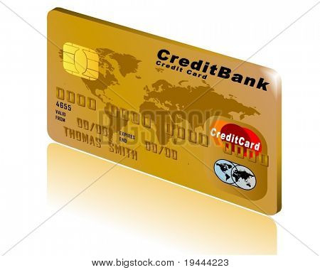Card in Gold with shadow and background in 3D