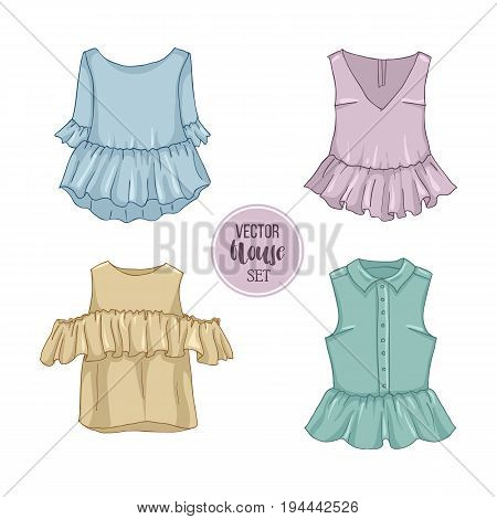 Color set of woman casual clothes, blouses with frills. Simple flat vector illustration