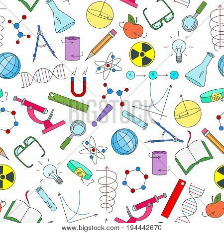 Seamless pattern on the theme of science and inventions diagrams charts and equipment simple icons on white background