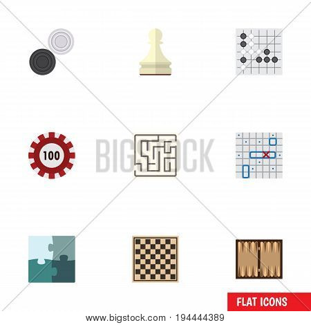 Flat Icon Entertainment Set Of Labyrinth, Pawn, Gomoku And Other Vector Objects. Also Includes Alphago, Renju, Ship Elements.
