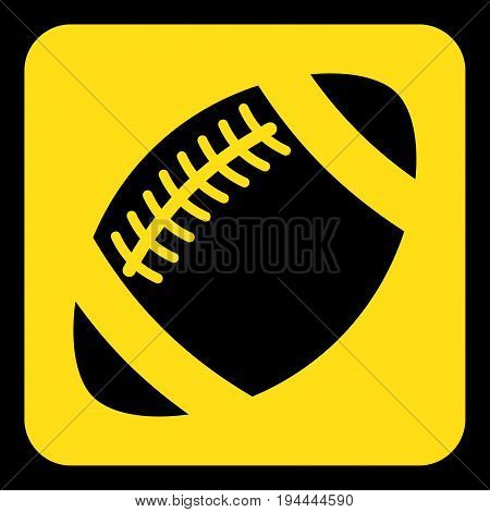 yellow rounded square information road sign with frame - black american football ball icon